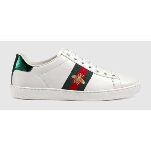 fe6d5a2abc86 Nike Air Gucci Huarache Chaussures Prix Pas Chers Pour Homme ... Chaussures  Femme Gucci Blanc   Sneakers New Ace à Lacets En Vrai Cuir Souple Avec  Bande Web ...